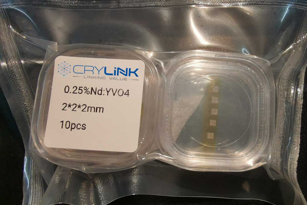 Nd:YVO4 Crystal-0.25%- 2×2×2-Laser Crylink